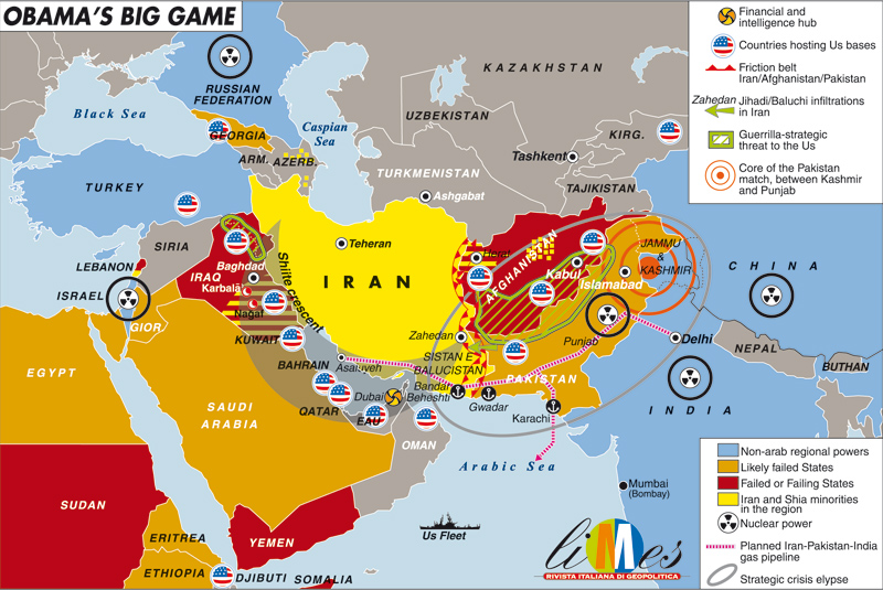 Obamas Big Game The Oligarch Kings - Map of us bases in the middle east