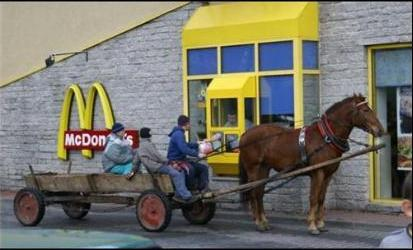 MCDONALDS DRIVE THROUGH - ONLY IN ROMANIA - HORSE DRAWN CART